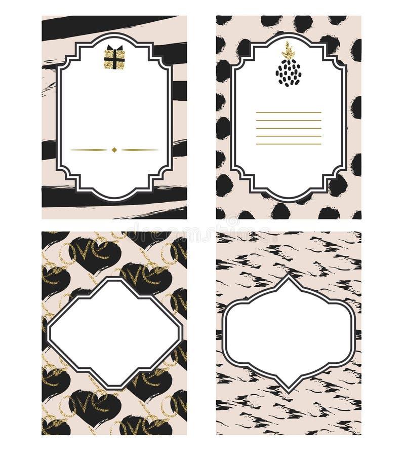 Uppsättning för mall för födelsedagkort svartvit Guld blänker detaljer stock illustrationer
