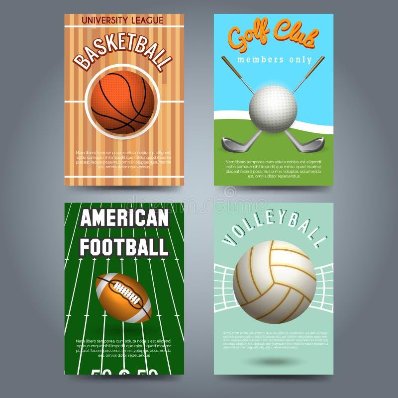 Uppsättning för mall för sportbroschyrreklamblad stock illustrationer