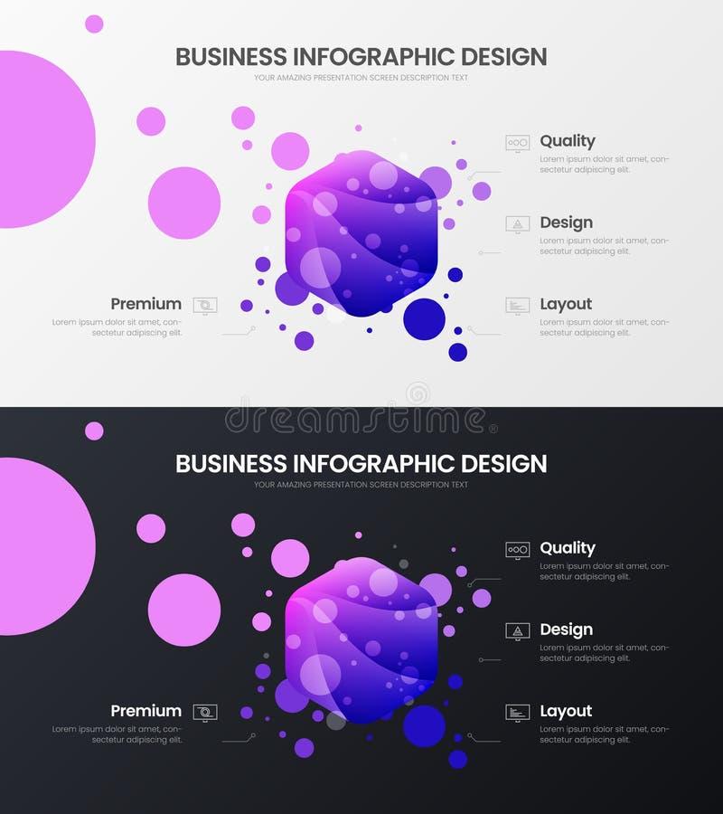 uppsättning för mall för illustration för vektor för 4 alternativhexahedronanalytics Orientering för affärsdatadesign Infographic vektor illustrationer