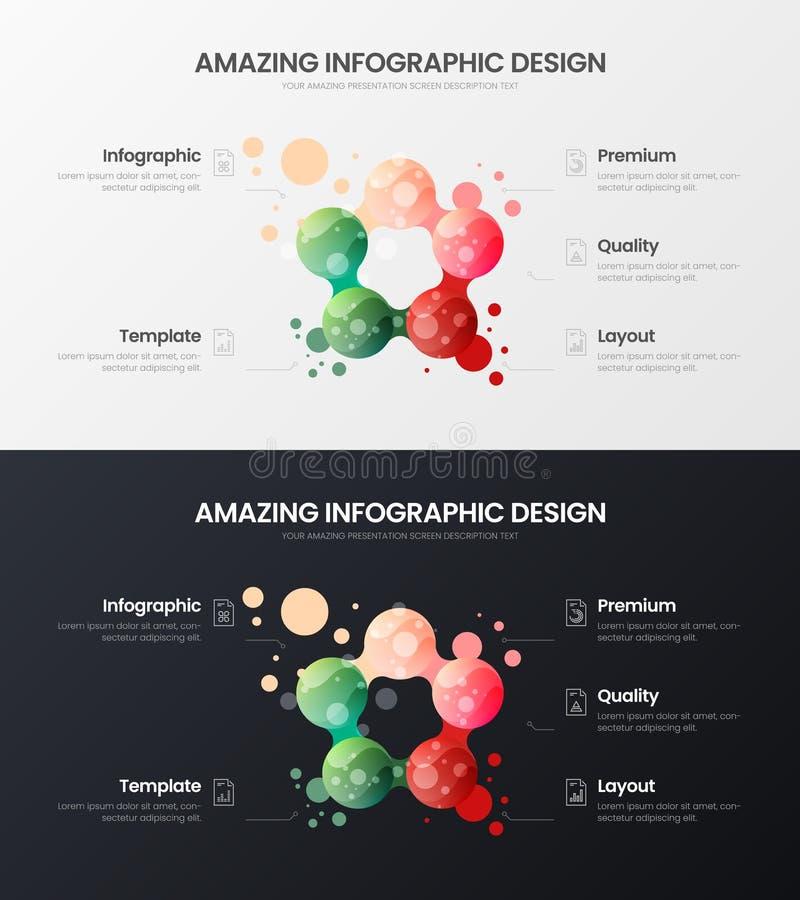 uppsättning för mall för illustration för vektor för 5 alternativmarknadsföringsanalytics Organisk packe för orientering för desi royaltyfri illustrationer
