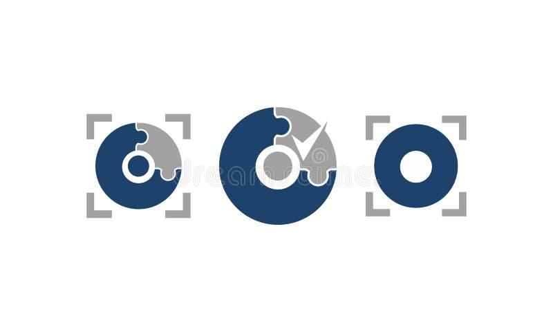 Uppsättning för mall för precisionteknologiservice royaltyfri illustrationer