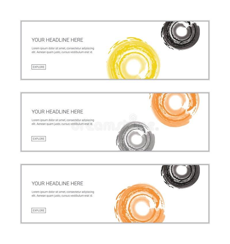 Uppsättning för mall för rengöringsdukbanerdesign som består av abstrakta bakgrunder som göras med borstar för vattenfärg stock illustrationer