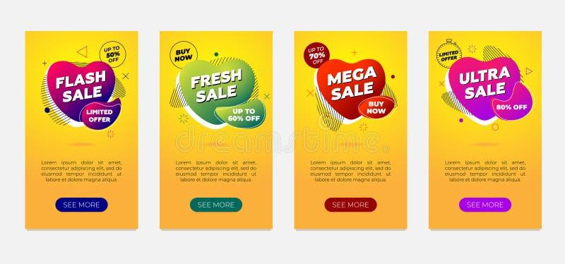 Uppsättning för mall för Sale banerdesign Dynamisk modern lutningvätskereklamblad på gul bakgrund Pråligt nytt mega ultra stock illustrationer