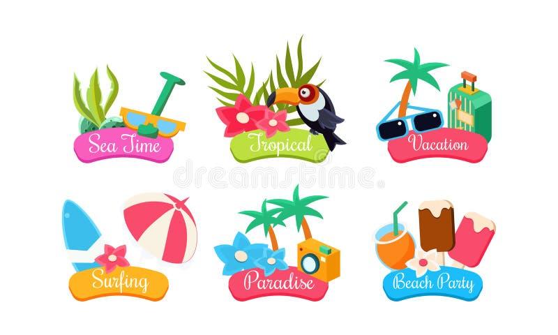 Uppsättning för mall för sommarlopplogo, havstid som är tropisk, semester som surfar, paradis, vektor för etiketter för strandpar royaltyfri illustrationer