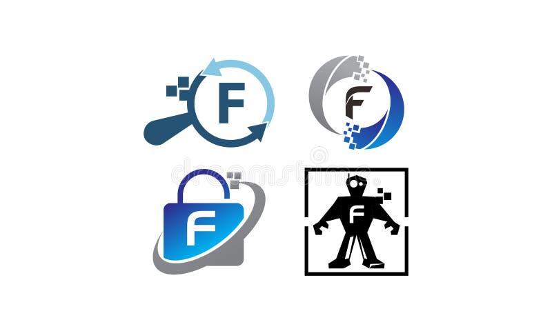 Uppsättning för mall för teknologiapplikation F stock illustrationer