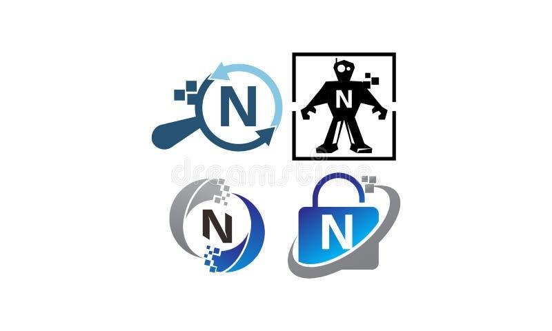 Uppsättning för mall för teknologiapplikation N stock illustrationer
