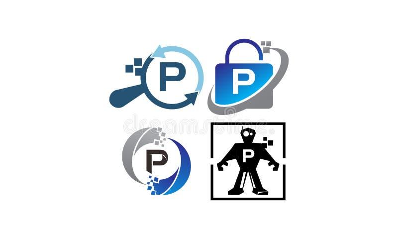 Uppsättning för mall för teknologiapplikation P stock illustrationer