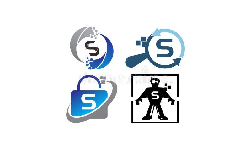 Uppsättning för mall för teknologiapplikation S stock illustrationer