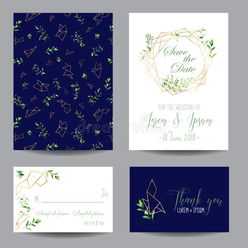 Uppsättning för mallar för bröllopinbjudan blom- Spara datumkorten med stället för dina text och tropiska sidor vektor illustrationer