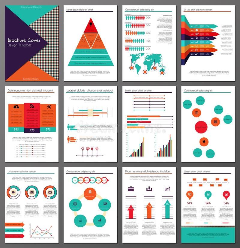 Uppsättning för mallar för Infographic broschyr- och reklambladdesign vektor illustrationer