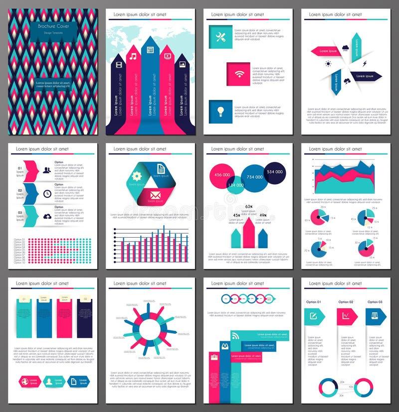Uppsättning för mallar för Infographic broschyr- och reklambladdesign royaltyfri illustrationer