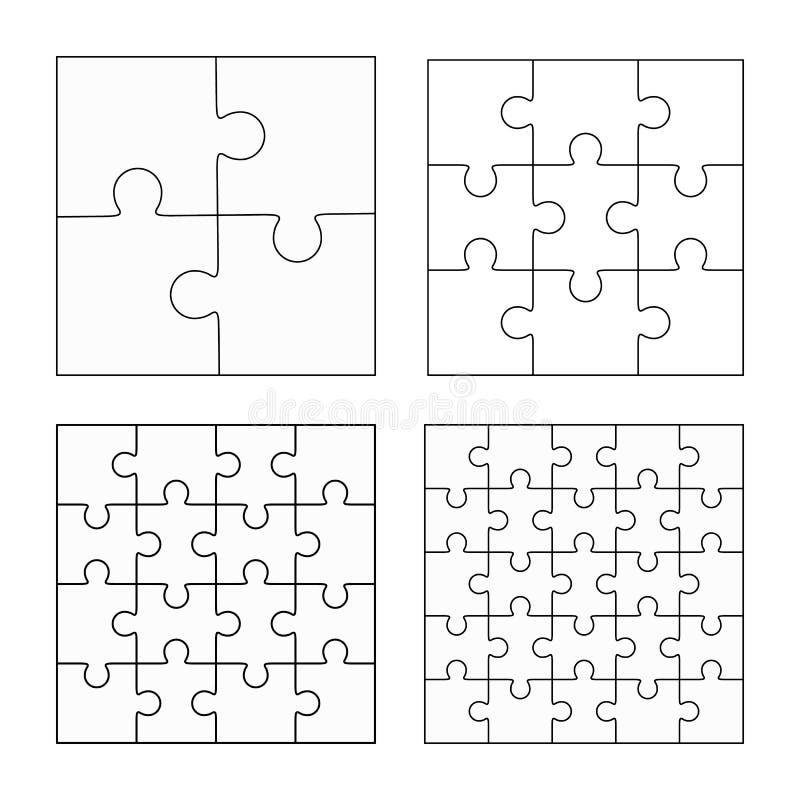 Uppsättning för mallar för vektor för pussel fyra plan tom royaltyfri illustrationer