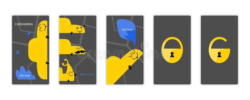 Uppsättning för manöverenheter för app för Carsharinghand utdragen mobil vektor illustrationer