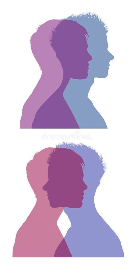 Uppsättning 2 för man- och kvinnaframsidakonturer royaltyfria bilder