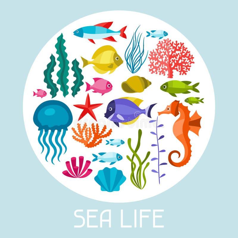 Uppsättning för marin- liv av symboler, objekt och havsdjur royaltyfri illustrationer