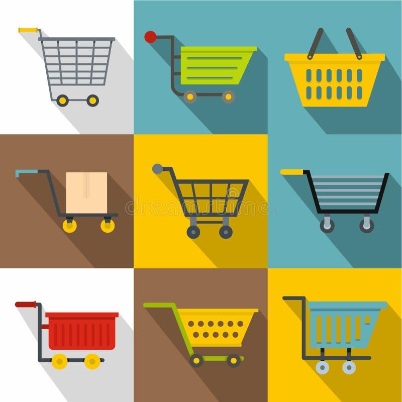 Uppsättning för marknadsvagnssymboler, lägenhetstil stock illustrationer