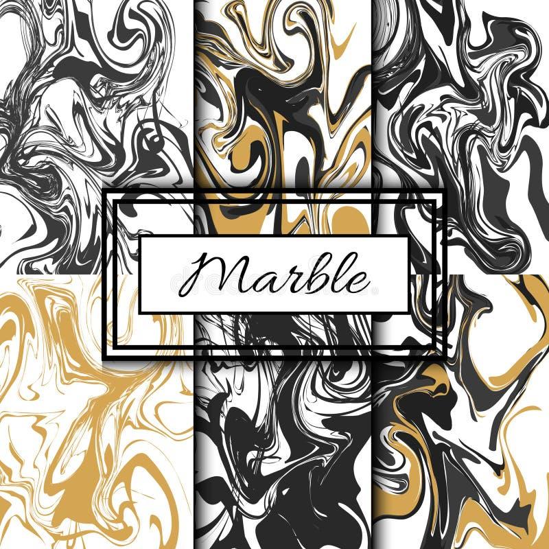 Uppsättning för marmortexturvektor Hand dragen färgpulvermarmor stock illustrationer