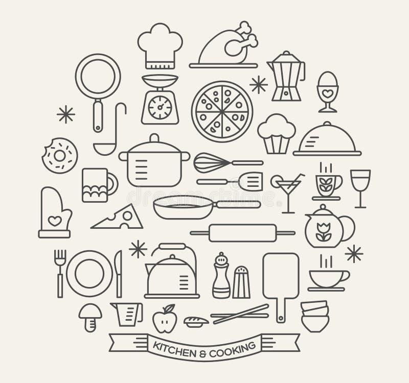Uppsättning för matlagningfoods- och köksymboler royaltyfri illustrationer