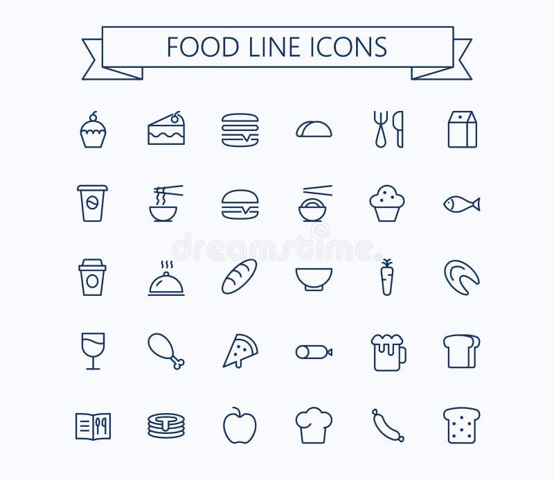Uppsättning för matvektorminisymboler Tunn linje raster för översikt 24 x 24 Perfekt PIXEL vektor illustrationer
