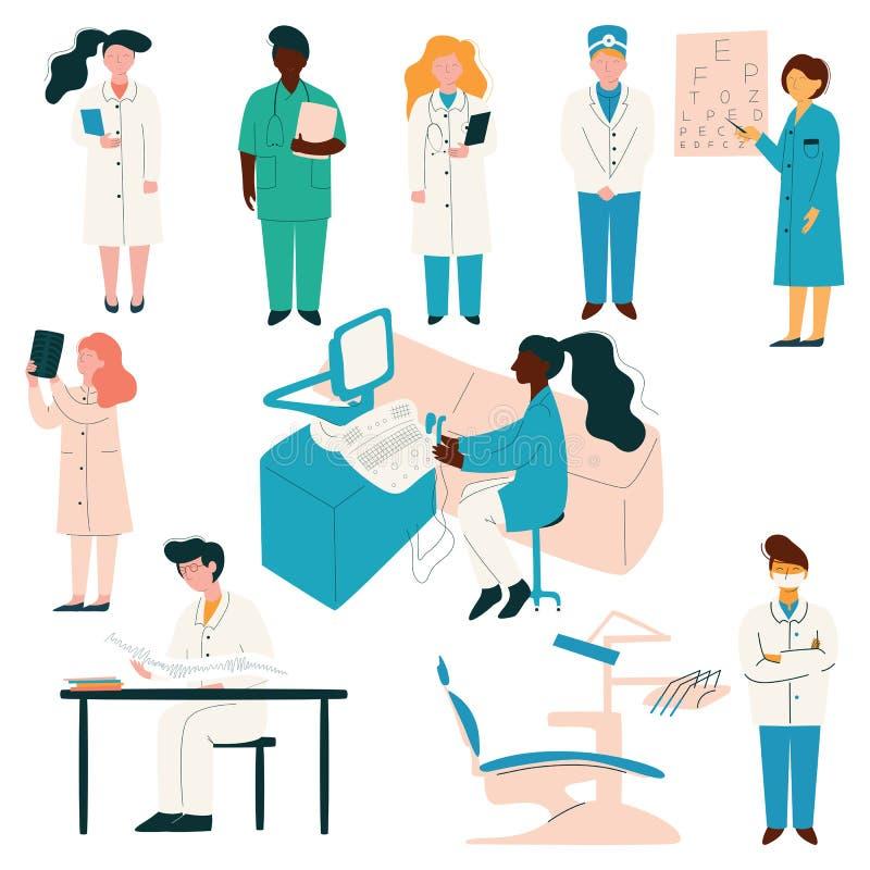 Uppsättning för medicinsk personal för doktorer och för sjuksköterskor, sjukhusarbetare i likformign, tandläkare, ögonläkare, ter vektor illustrationer