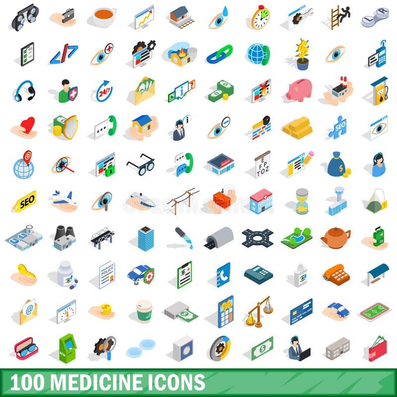 uppsättning för 100 medicinsymboler, isometrisk stil 3d stock illustrationer