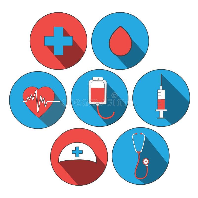 Uppsättning för medicinsymbolslägenhet Världsblodgivaredag, doktorsdag Klistermärkear för platsdesign MEDICINSKT begrepp stock illustrationer
