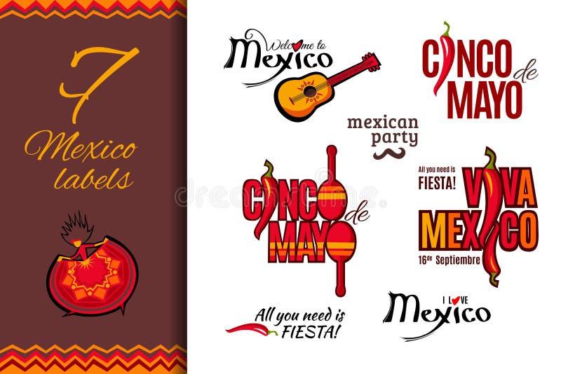 Uppsättning för Mexico ferieetiketter royaltyfri illustrationer