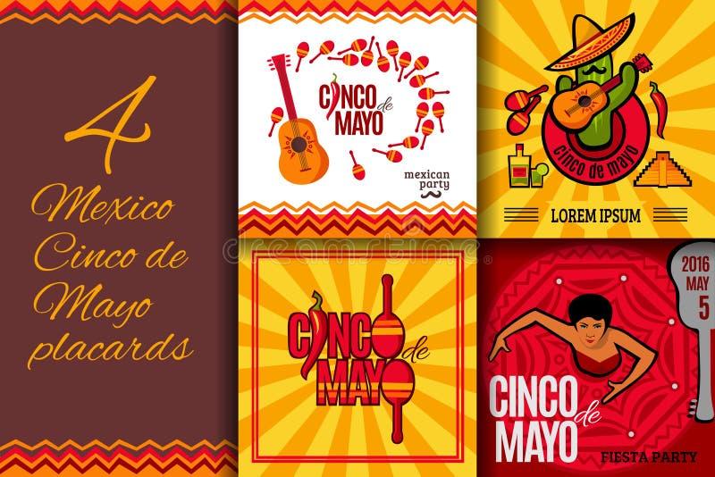 Uppsättning för Mexico partiCinco de Mayo plakat royaltyfri illustrationer