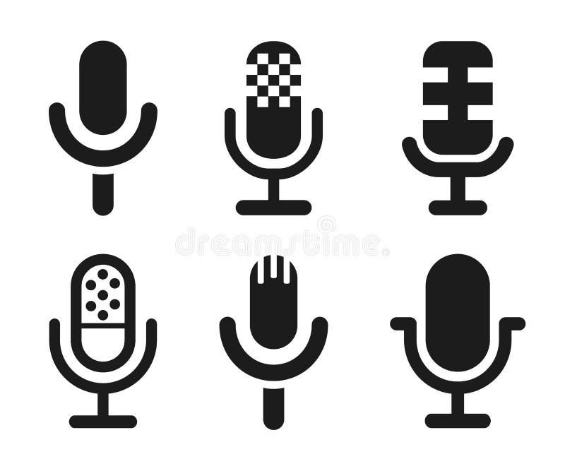Uppsättning för mikrofonhögtalaresymbol för apps och websites - vektor royaltyfri illustrationer