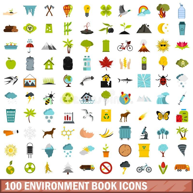 uppsättning för 100 miljöboksymboler, lägenhetstil vektor illustrationer