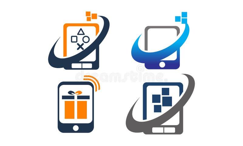Uppsättning för mobiltelefonApp-mitt royaltyfri illustrationer