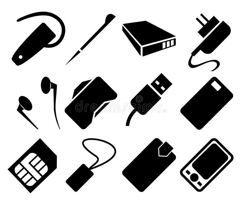 Uppsättning för mobiltelefontillbehörsymbol vektor illustrationer