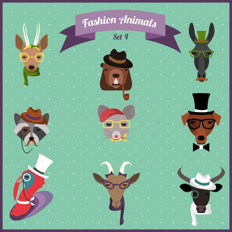 Uppsättning 4 för modeHipsterdjur royaltyfri illustrationer
