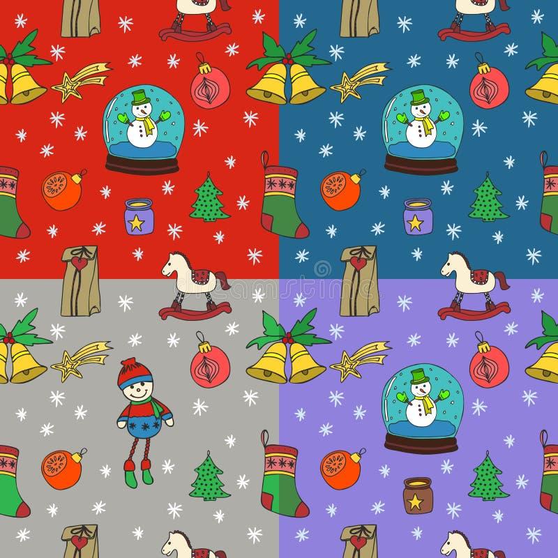 Uppsättning för modell för jul för nytt år sömlös illustratören för illustrationen för handen för borstekol gör teckningen teckna royaltyfri illustrationer