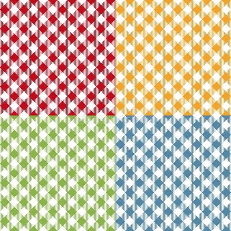 Uppsättning för modell för picknicktabelltorkduk sömlös Picknickplädtextur vektor illustrationer
