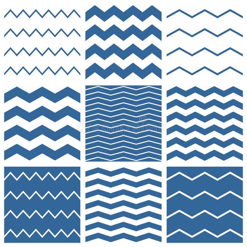 Uppsättning för modell för tegelplattavektorsparre med blå och vit sicksackbakgrund för sjöman royaltyfri illustrationer