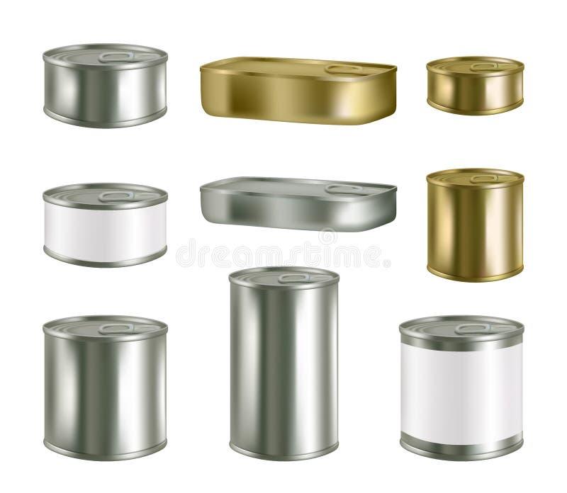 Uppsättning för modell för packe för metall för på burk mat för vektor realistisk tom stock illustrationer