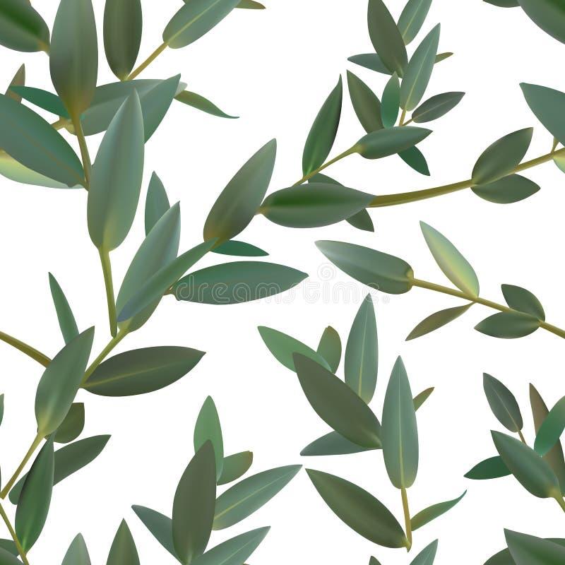 Uppsättning för modell för timjanbladgräsplan sömlös isolerad vektor av sidor royaltyfri illustrationer