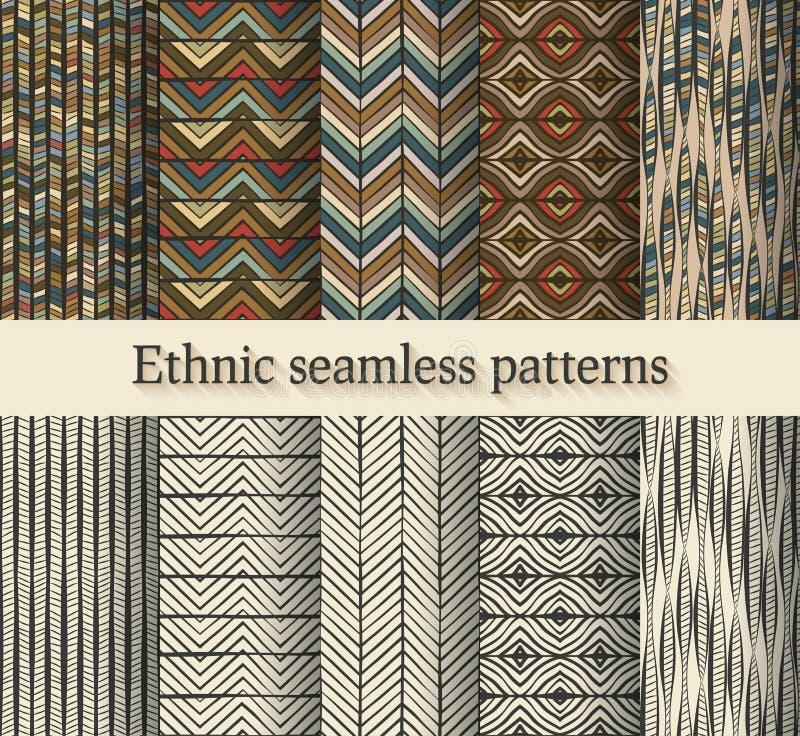 Uppsättning för modeller för handteckning etnisk sömlös royaltyfri illustrationer