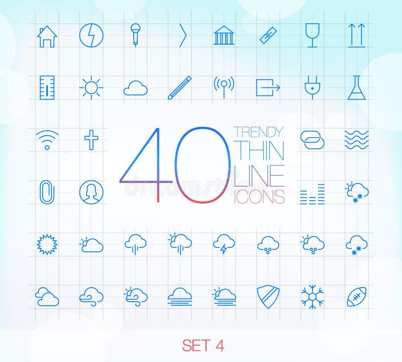 Uppsättning 4 för 40 moderiktig tunn symboler stock illustrationer