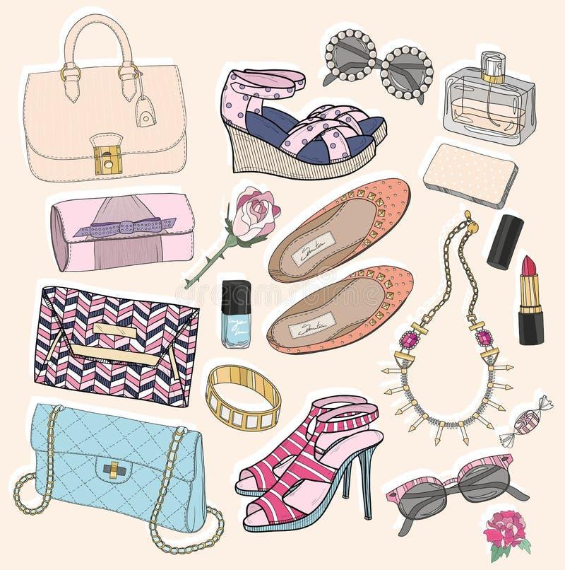Uppsättning för modetillbehör stock illustrationer