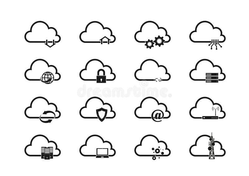 Uppsättning för molnteknologisymbol, ADB-system och nätverk isolerat tecken vektor illustrationer