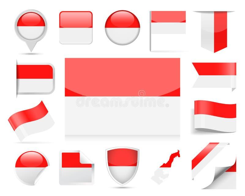 Uppsättning för Monaco flaggavektor vektor illustrationer