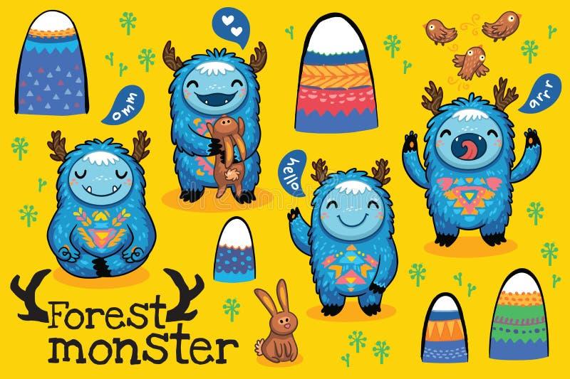 Uppsättning för monster för vektortecknad film rolig royaltyfri illustrationer