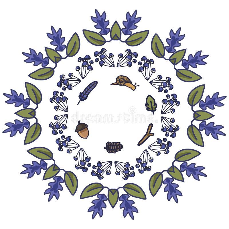 Uppsättning för motiv för illustration för vektor för skogramtecknad film Utdragen isolerad skogsmark för hand royaltyfri illustrationer