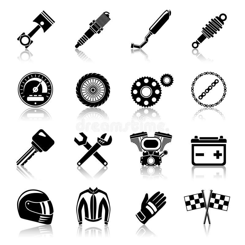 Uppsättning för motorcykeldelsvart royaltyfri illustrationer