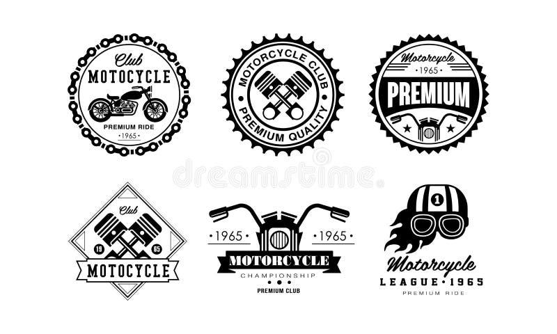 Uppsättning för motorcykelklubbalogo, retro emblem för cyklistklubban, automatiskdellager, illustration för vektor för reparation vektor illustrationer
