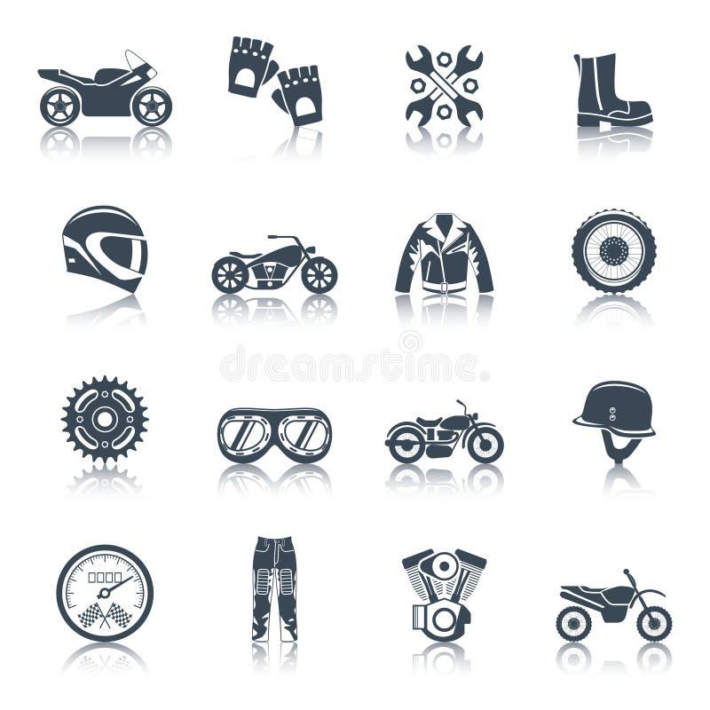 Uppsättning för motorcykelsymbolssvart vektor illustrationer