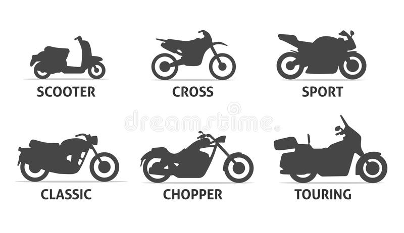 Uppsättning för motorcykeltyp- och modellObjects symboler vektor illustrationer