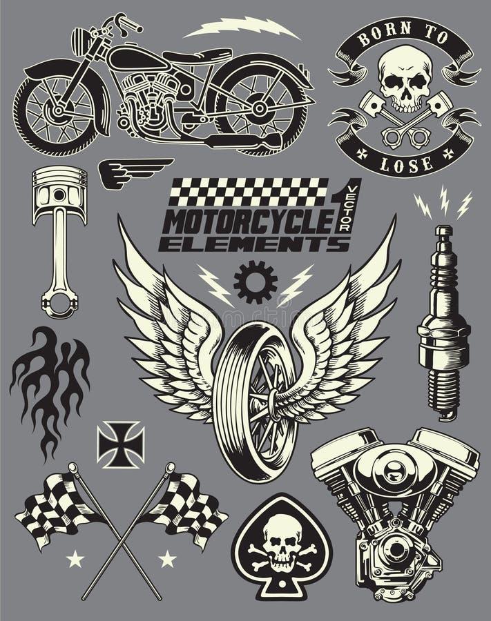 Uppsättning för motorcykelvektorbeståndsdelar stock illustrationer